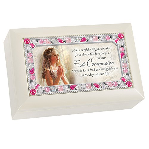 Cottage Garden First Communion Girl Praying Rejoice Matte Ivory Jewelry Music Box Plays Jesus Loves Me -