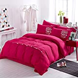 Duvet Cover Sets Fashion Twill Four Sets Of Simple Wind Pure Color Four-Piece, Butterfly Dance, King