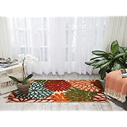 "Nourison ALH05 Aloha Green Contemporary Tropical Indoor/Outdoor Area Rug 2'8"" x 4'"