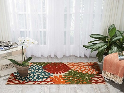 Nourison  Aloha Green Contemporary Tropical Indoor/Outdoor Area Rug 2'8