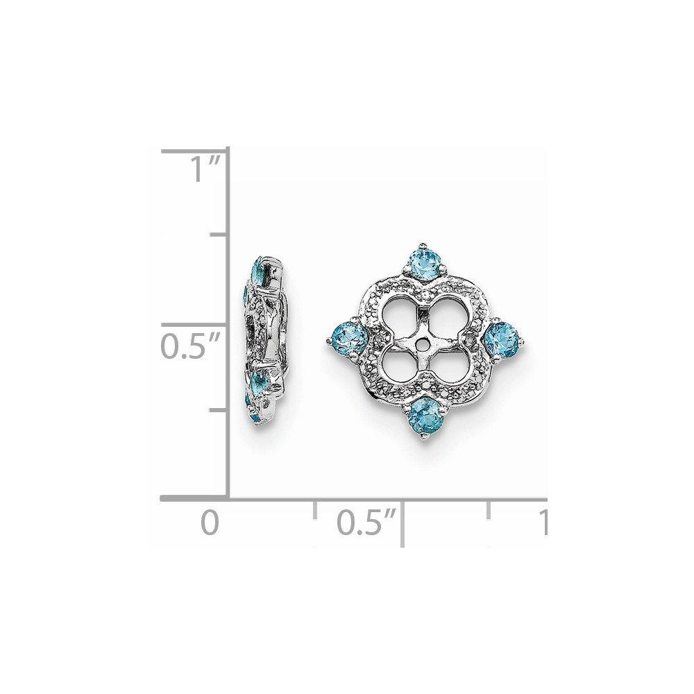 Solid .925 Sterling Silver Diamond /& Swiss Blue Topaz December Birthstone Earring Jacket 11x11mm