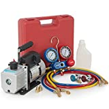 ARKSEN Vacuum Pump 4CFM, 1/3HP + Manifold Gauge Charging/Hose for R134a
