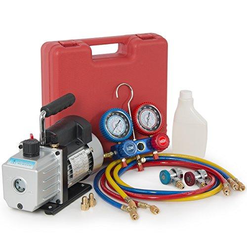 ARKSEN Vacuum Pump 4CFM, 1/3HP + Manifold Gauge