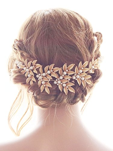 Missgrace Bridal Rhinestone Gold Headpiece Hair Vine-Wedding Hair Jewelry for Festival and Party- Bridal Hair Accessories for Bride