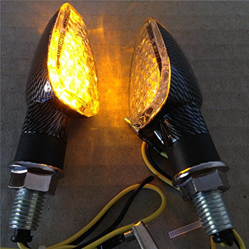 Carbon Fiber LED Motorcycle Dual Sport Turn Signal Light Clear Lens For Suzuki Kawasaki Honda - Dual Lights Sport