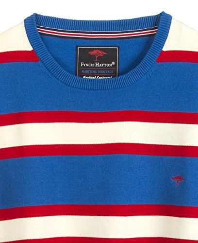 FYNCH HATTON Herren Pullover Rundhals O-Neck Stripes Maritime Heritage 141-322-342 royal-red-offwhite