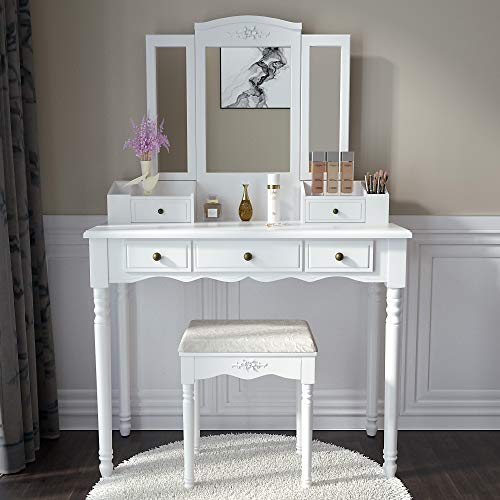 Vanity Stool Set,Make Up Table with 5 Drawers,Tri-Folding 3 Mirrors,Cushioned Stool Easy Assemble White
