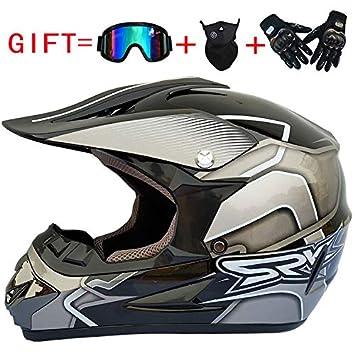 lanlan casco de Motocross hombre, casco Integral Clásico + Guantes + gafas de sol +