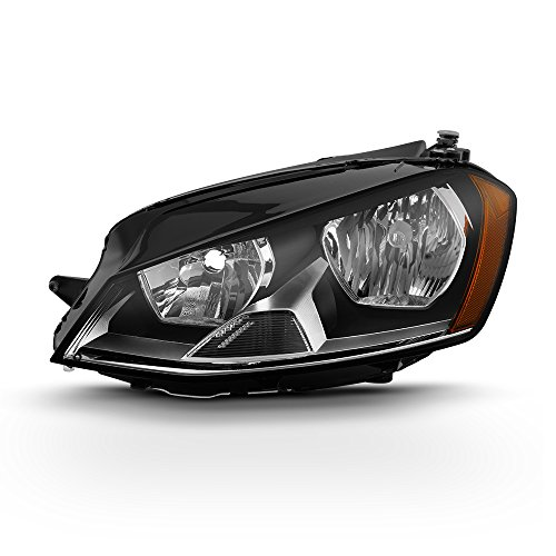 (For 2015-2017 VW GTI Golf Models Driver Side Only Halogen Headlights Assembly Chrome Housing Clear Lens)