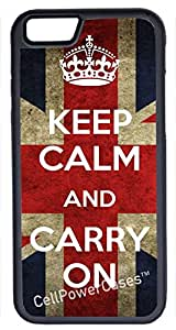 iPhone 6 Case, CellPowerCasesTM Keep Calm Carry On UK [Protect Series] -iPhone 6 (4.7) Black Case [iPhone 6 (4.7) Protective V1 Black]