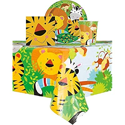 "Jungle Animal Themed Party Birthday - Serves 16 Guest - 16 Plates 9"". 16 Cups 9 Oz 16 Napkins, One Tablecloth and 24 Animal Print Birthday Candles: Health & Personal Care"