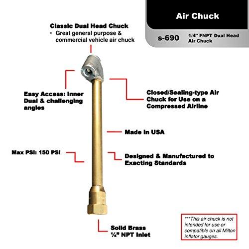 "Milton S-699 1//4/"" Single Head Air Chuck pack of 1"