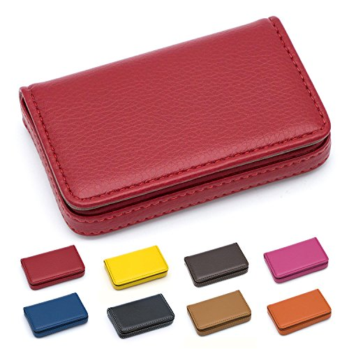 - Padike Business Name Card Holder Luxury PU Leather,Business Name Card Holder Wallet Credit Card ID Case/Holder for Men & Women - Keep Your Business Cards Clean(Red)