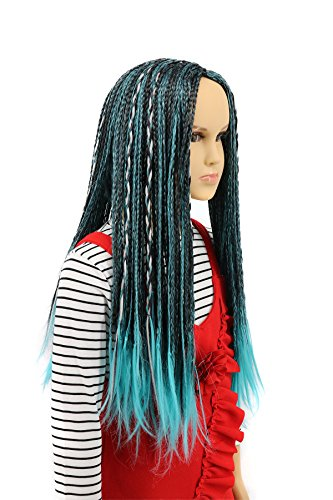 - Karlery Child Kids Long Braid Blue and Black Mixed Wig Halloween Cosplay Wig Anime Costume Party Wig