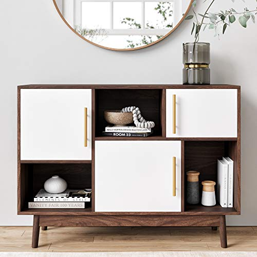 Nathan James 75502 Ellipse Modern Multipurpose Display Storage Unit Entryway Furniture, White/Brown