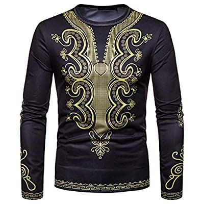 WUAI Mens Shirts Clearance,Casual African 3D Print Long Sleeve O-Neck Sweatshirt Personality Tops