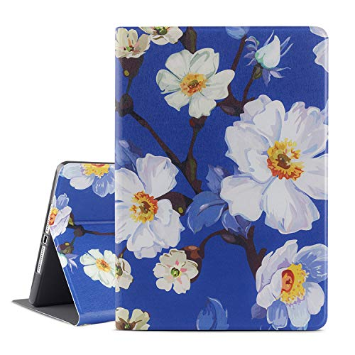 iPad 9.7 2018/2017 Case, iPad Air 2, iPad Air Case, Vimorco Soft TPU Back Cover, Bump Drop Resistance Folio Leather Case, Adjustable Stand Auto Wake/Sleep Smart Case (Bloom Blue) (Special A Pencil With Pineapple)