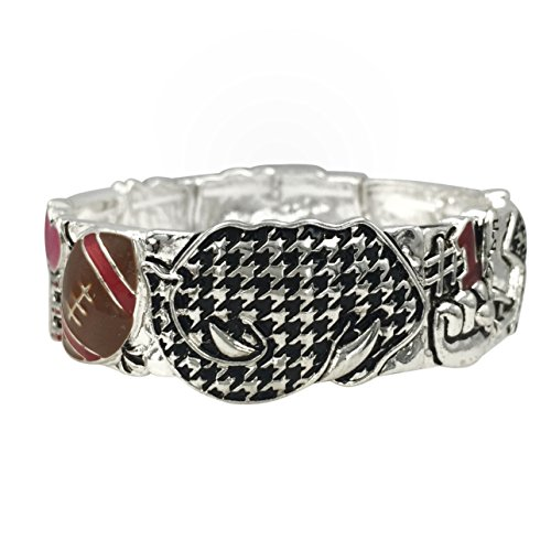 - Houndstooth Elephant Love Football Silver Tone Stretch Bracelet Alabama Roll Tide Pride (#1 Fan)