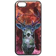 Graphics and More Deer Watercolor Magenta - Hunting - Snap-On Hard Protective Case for Apple iPhone 5/5s - Non-Retail Packaging - Black