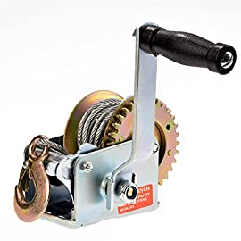 600lbs Capacity Heavy Duty Hand Winch, Hand Crank Strap Gear Winch with 8m Steel Wire, Manual Operated Two-Way Ratchet ATV Boat Trailer Marine (600LBS)
