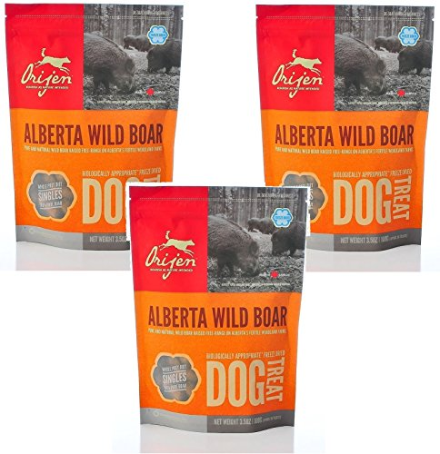 Orijen Alberta Wild Boar Singles Freeze-dried Dog Treats, 3.5-oz Bag Pack of 3