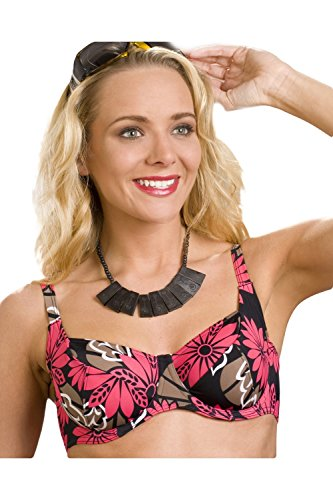 Camille - Sujetador de bikini con aros - Estampado floral rojo y marrón - Negro Negro