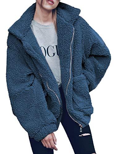 (Gzbinz Women's Casual Warm Faux Shearling Coat Jacket Autumn Winter Long Sleeve Lapel Fluffy Fur Outwear Blue 2XL)