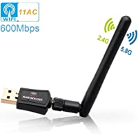 High Speed USB WIFI Adapter, Long-Range Wireless Wi-Fi Dongle, 5Dbi External Antennas, Dual-Band Ac1200, USB 3.0, 2.4Ghz 300Mbps/ 5Ghz 867Mbps, AP & Infrastructure mode 802.11ac/b/g/n, Wireless WiFi Adapter for Pi 3/ PC/ Desktop/ Laptop, Support Windows 10/8/8.1/7/Vista, Mac OS