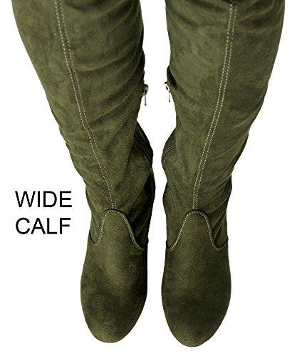 RF RAUM DER MODE Frauen Block-Block-Block-Block-Ferse-Stretch-Stiefel - erhältlich in mittlerer und breiter Wade Olive Su - Breites Kalb