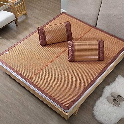 Eye eye Sommer Bambusmatte Matte Doppelt Faltbar (Farbe   Carbonized Ink seat, größe   0.8 m Bed) Gold Brick Seat 0.8 m bed