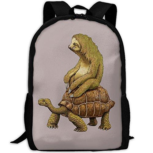 Sloth Rides On Tortoise Outdoor Casual Shoulders Multipurpose Backpack Fantasy Shoulder Bag School Backpack Travel Bags Laptop Backpack For Unisex