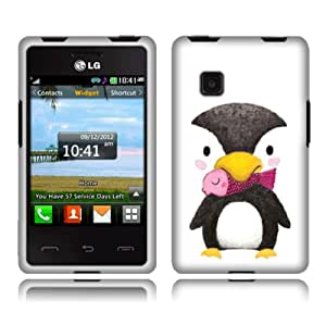 Fincibo (TM) Protector Cover Case Snap On Hard Plastic Front And Back For LG 840G - Baby Penguin With Pink Fish