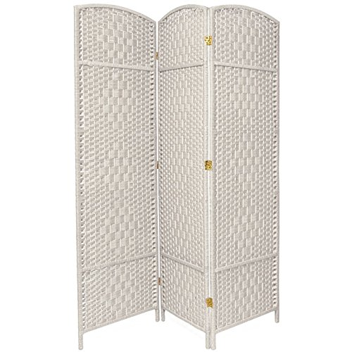 Oriental Furniture 6 ft. Tall Diamond Weave Fiber Room Divider - White - 3 Panel