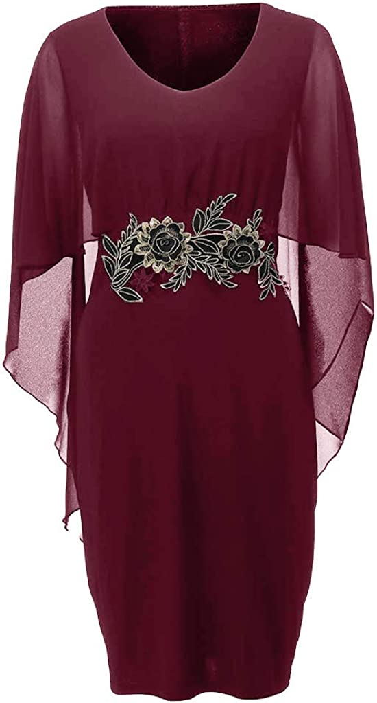 Womens Plus Size Chiffon Dress Ruffles Mini Dresses V-Neck Summer Casual Flower Printed Dress with Mesh Shawl