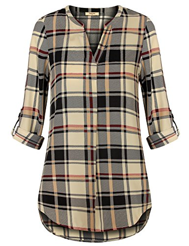 Timeson Womens Plus Size Blouse Women Blouse Shirt for Work, Women's Plaid Chiffon Blouses Split V Neck A Line Silky Work Tunic Tops Business Casual Button Up Shirt for Leggings Beige X-Large ()