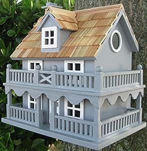 """10.75""""totalmente funcional azul nueva Inglaterra Cottage al aire libre jardín casa para pájaros"""