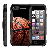 TurtleArmor | Apple iPhone 7 Plus Case | (5.5') [Octo Guard] Heavy Impact Proof Silicone Case Tough Hard Kickstand Belt Clip Holster Sports and Games Design - Basketball Seams