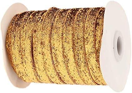 freneci 49ヤードグリッターリボンファブリックレーストリム(装飾、ギフト、ヘッドバンド用) - 浅いオレンジ