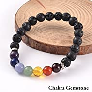 """2 for 1 Lava Rock Bead Essential Oil Diffuser Chakra Bead Gemstone Tigers Eye Combo Stretch Bracelet Health Wellness Fits Most 7.5-8.5"""" Unisex 60 Day Satisfaction Guarantee 2 Bracelets"""