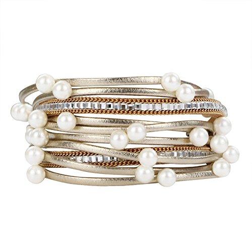 Dremisland Clasp Bangle Bracelet Genuine Leather Wrap Multilayer Rhinestones with Two Layer Beads Wrap Leather Bangle Charm Bracelet Cuff for Women Jewelryjewelry (White Pearl)