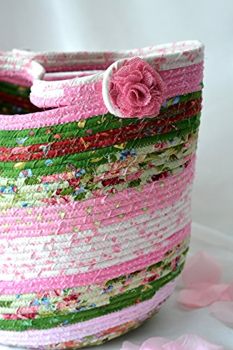 Handmade Quilted Handbags - Shabby Chic Tote Bag, Artisan Quilted Moses Basket, Handmade Coiled Fabric Basket, Storage Organizer, Handled Basket
