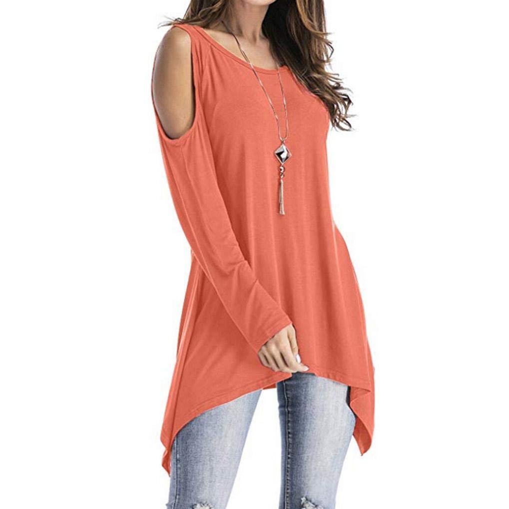 ❤ Camisa de Mujer asimétrica,Tops de la túnica del oscilación del Hombro frío de la Manga Larga de la O-Cuello de la Moda Absolute: Amazon.es: Ropa y ...