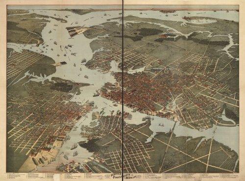 Historic Panoramic Map Reprint: Bird's eye view of Norfolk, Portsmouth and Berkley, Norfolk Co., Va. Morning News Lith. 1891 36 x 24 - Historic Panoramic Map