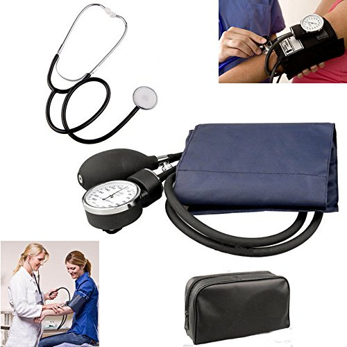 Manual Adult Size Deluxe Aneroid Sphygmomanometer - Professional Blood Pressure BP Monitor with Adult Cuff Set Sphygmomanometer Stethoscope Kit and Carrying Zipper case FDA by None (Image #9)