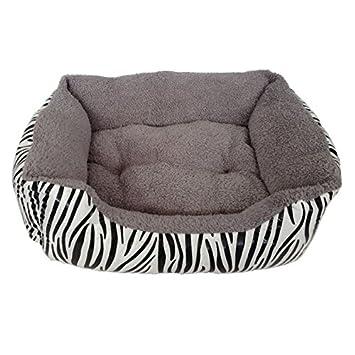 Cama suave para mascotas, estampado de cebra, color gris, para perros y gatos, tamaño mediano: Amazon.es: Productos para mascotas