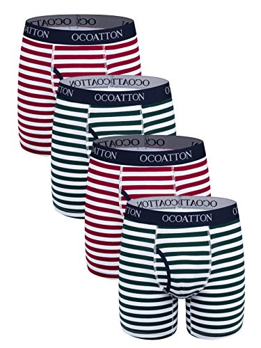 OCOATTON Striped Boxer Briefs Soft Cotton Underwear for Men with Front Fly 4-Pack (XXXXXL, 2green/2win (Cotton Striped Boxers)