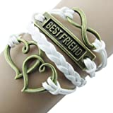 Best Rudder Owl Infinity Antique Bronze Korea Velvet Friendship Leather Cute Bracelet (White)