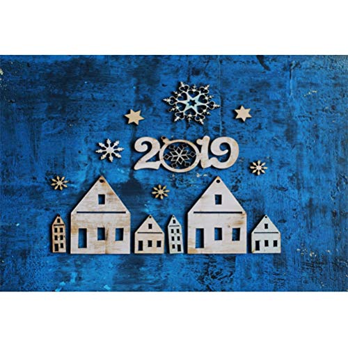Laeacco Vinyl 10x7ft New Year 2019 Photography Background Artifact Countryside Houses Different Shapes Snowflakes Grunge Blue Backdrops Christmas Decorations Child Kids Adult Portrait Shoot Studio