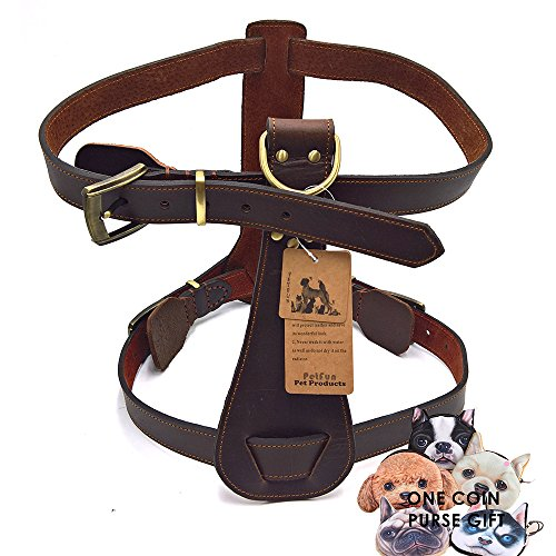 PetFun Brown Large Full Control Heavy Duty Leather Dog Roading Harness Vest with Adjustable Buckle for Walking, Training Bid Giant (Calfskin Harness)