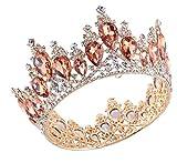 Wedding Crown, Beautiful headdress/Golden Round Princess Princess Diamond Crown Wedding Bridal Headwear Wedding Dress Crown Ornaments. (Color : B)